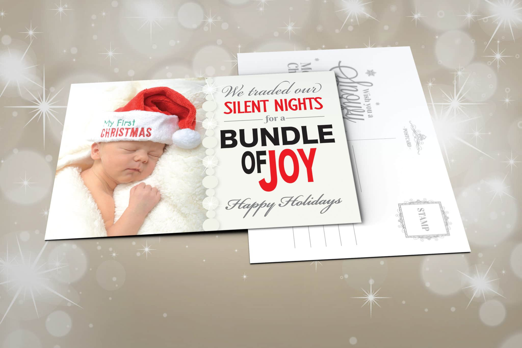 Christmas Cards with Baby Sleeping on Soft Blanket