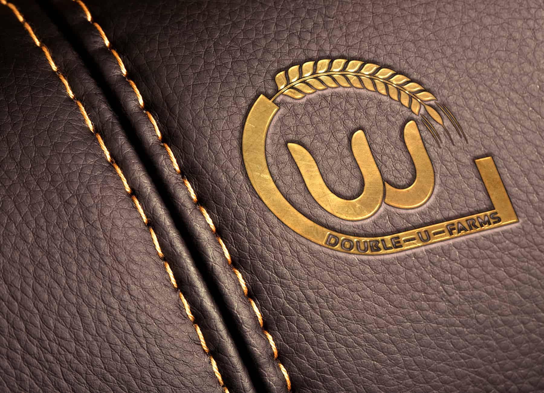 Double U Farms Logo printed in Gold on Leather Portfolio