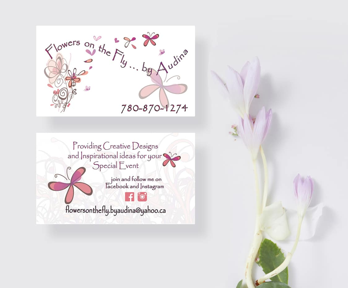 Flowers on the Fly Original Logo displayed on business cards