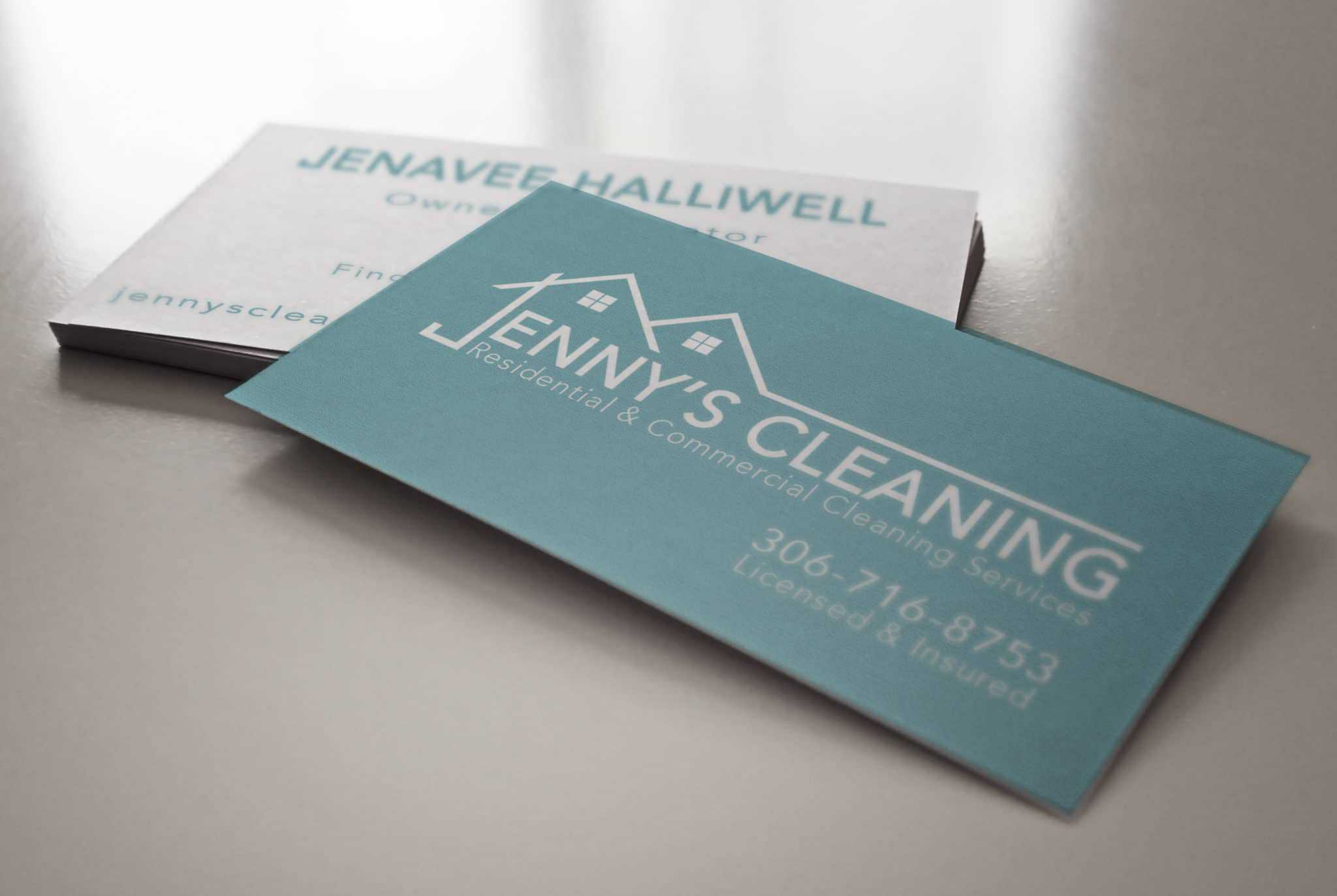 Jenny's Cleaning Residential & Commercial Cleaning Services Business Card Design
