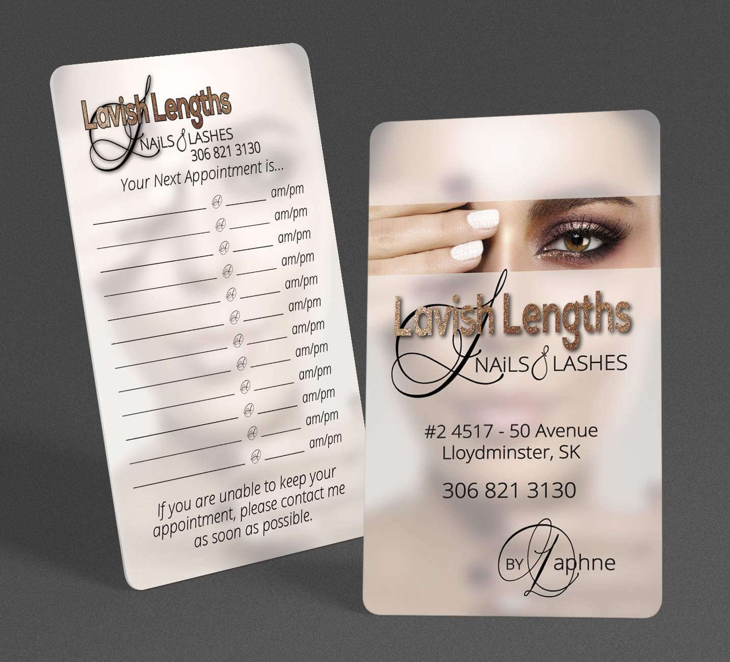 Lavish Lengths Nails & Lashes Business Cards with appointments