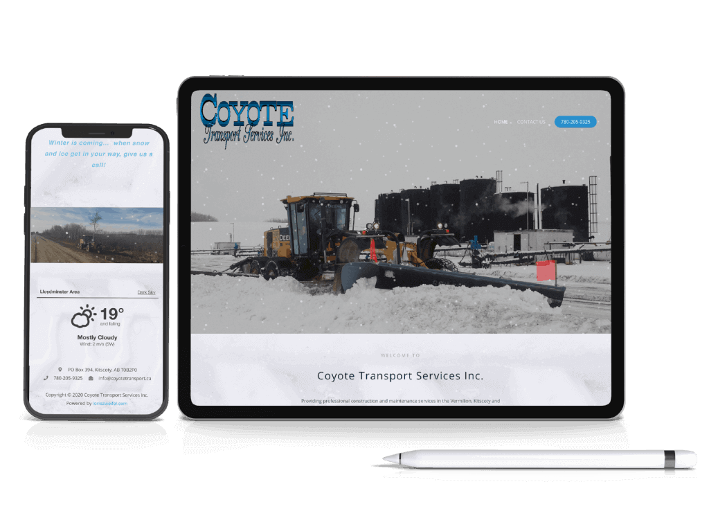 Coyote Transport Services Inc. Website Mobile Display