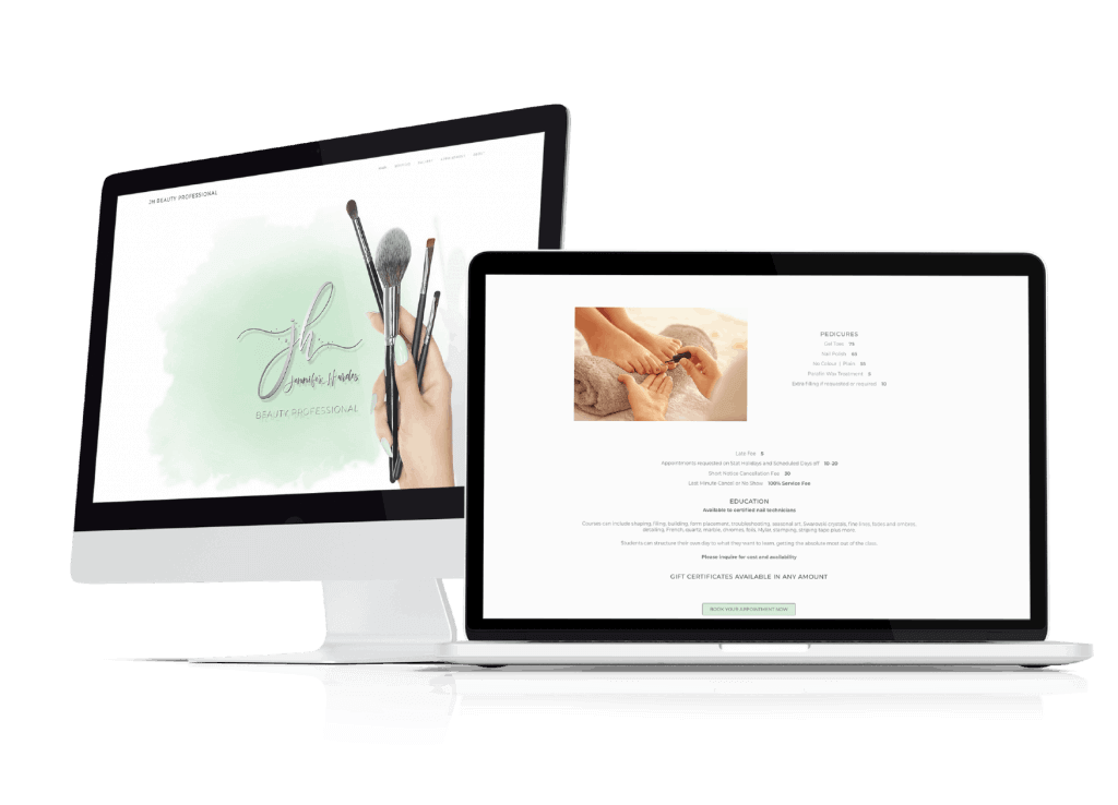JH Beauty Professional website displayed on iMac and Macbook Pro