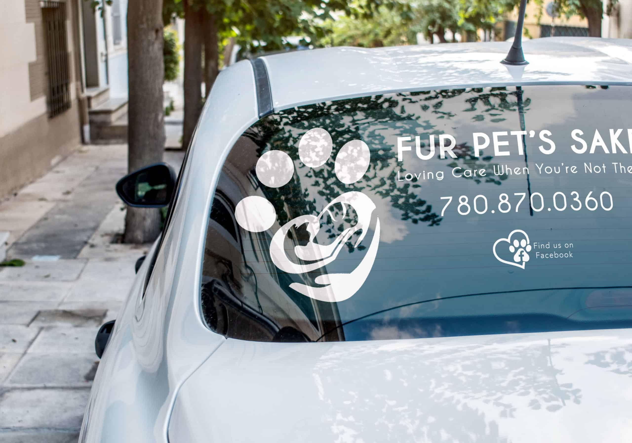 Fur Pet Sake Logo Business Decal on back window of car