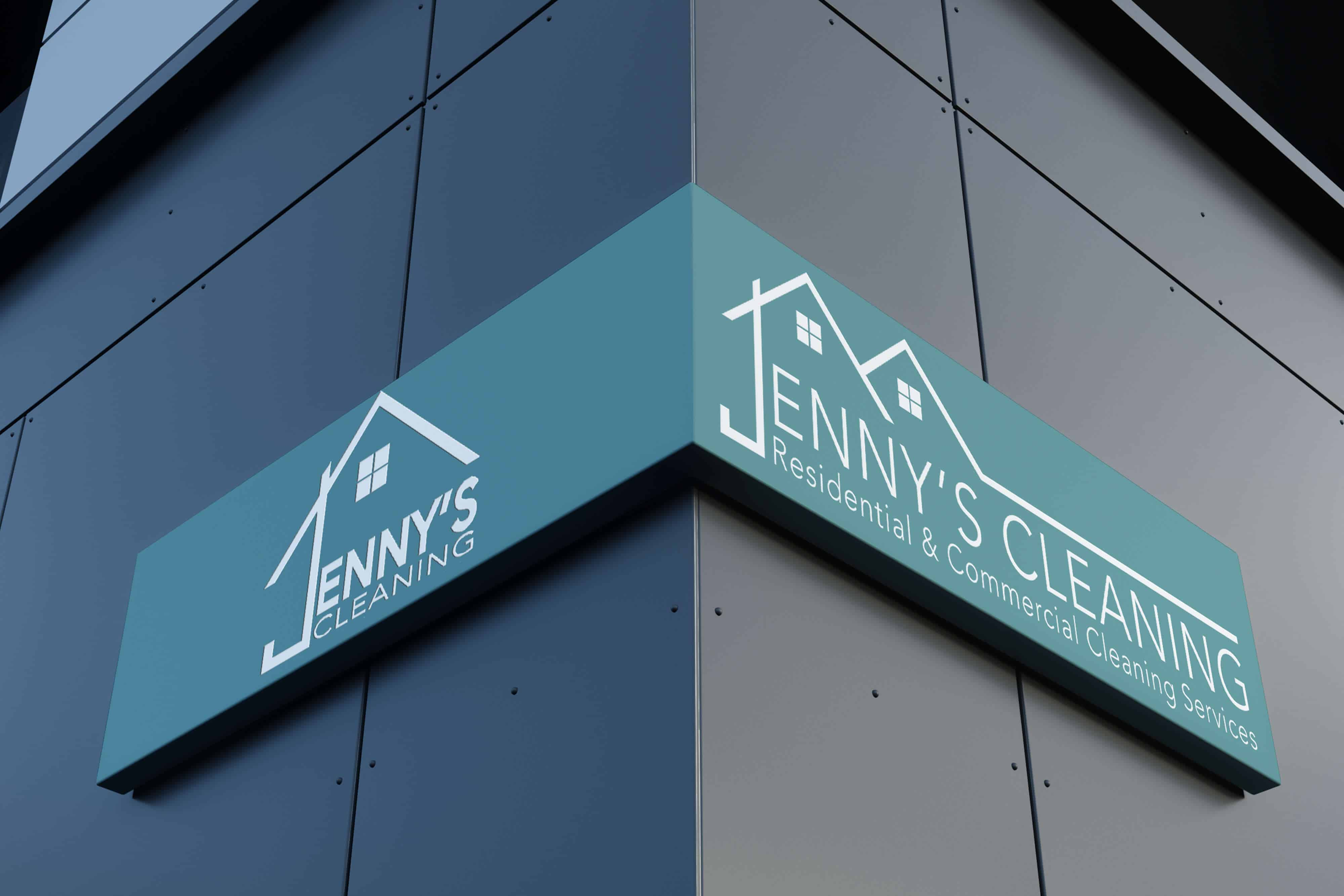 Jenny's Cleaning Commercial Cleaning Services Corner Mounted Sign on building exterior
